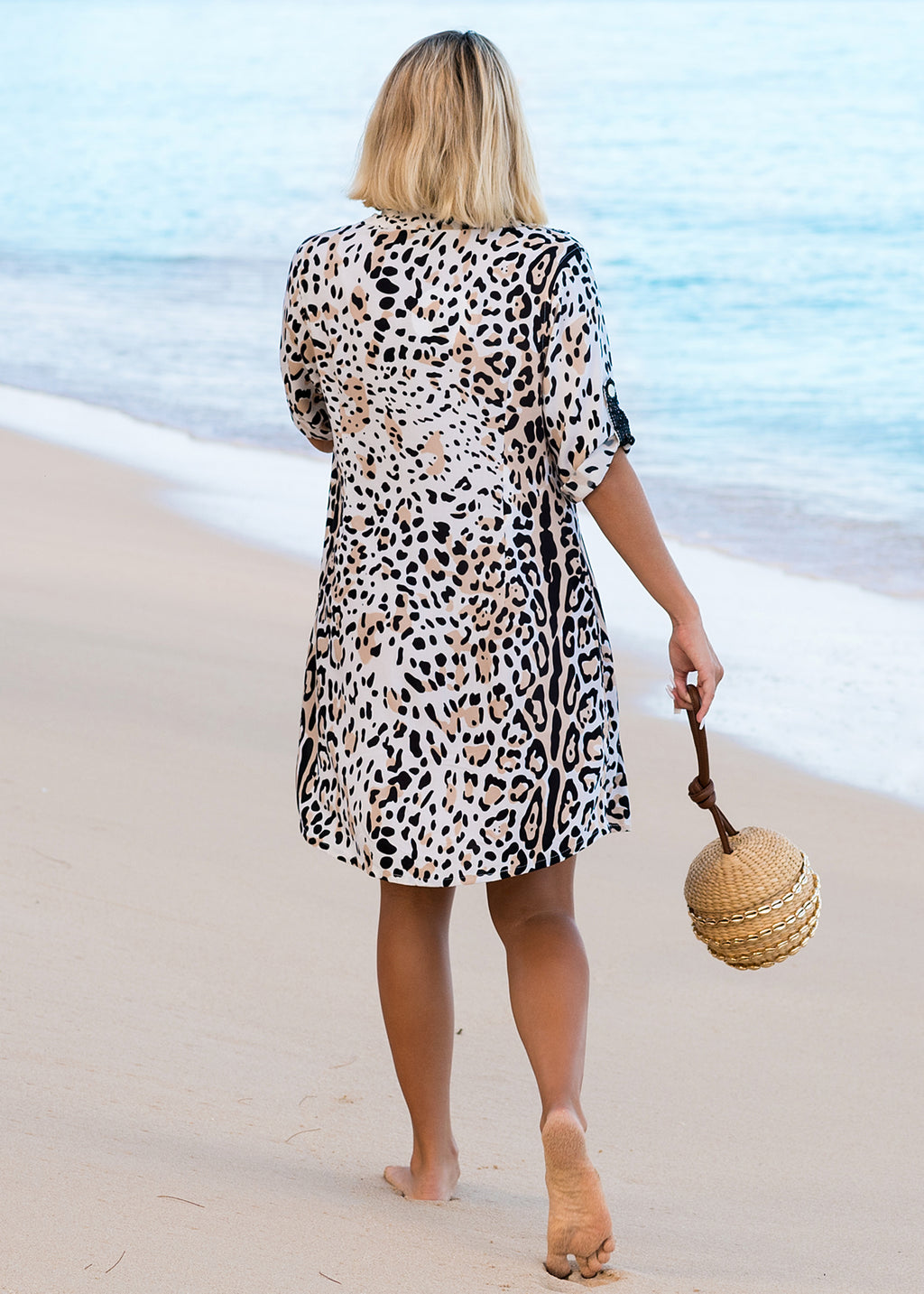 MARINA SHIRT DRESS WILD LEOPARD BISCUIT