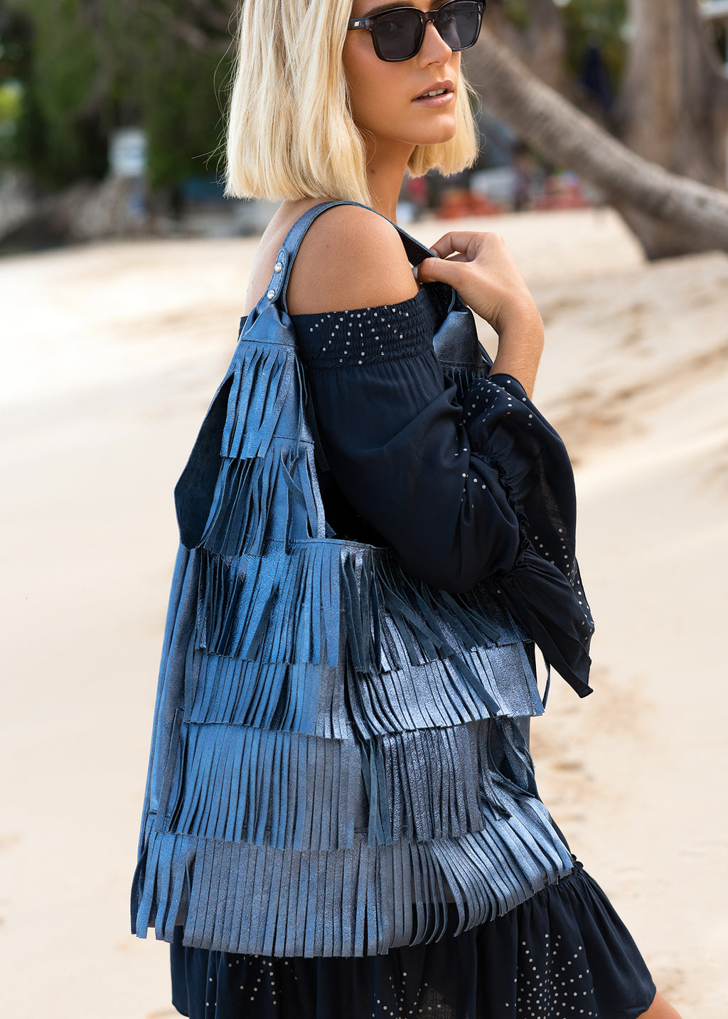 ANNA DARK CORNFLOWER LEATHER FRINGE TOTE