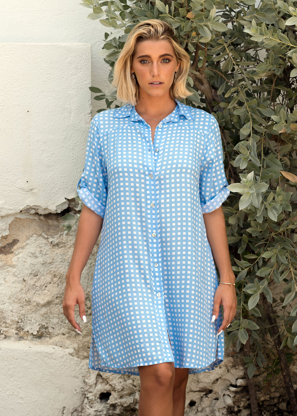 MARINA SHIRT DRESS GINGHAM DENIM