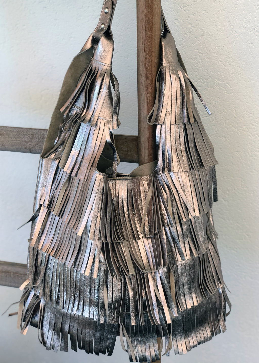 ANNA BRONZE LEATHER FRINGE TOTE