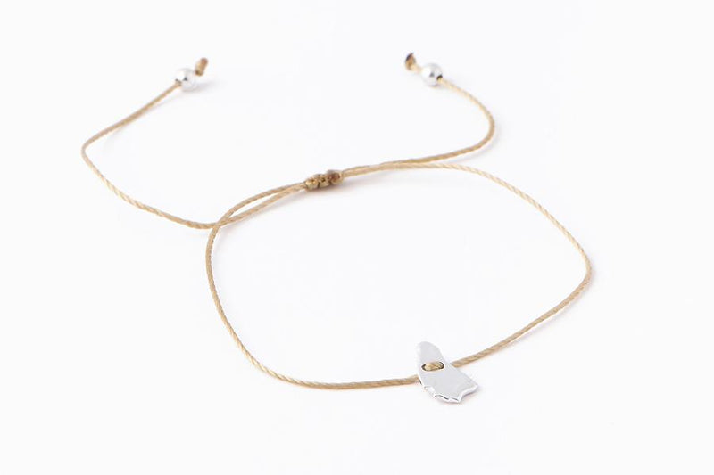 Mini Bim Bracelet - Polished Silver - Nude Cord