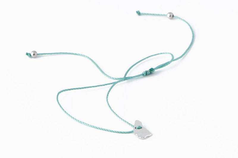 Mini Bim Bracelet - Polished Silver - Light Blue Cord