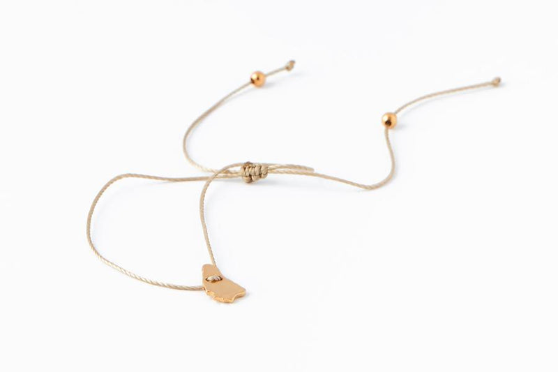 Mini Bim Bracelet - Polished Gold Vermeil - Nude Cord