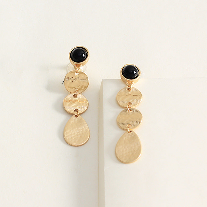 Gold Noir Drop Earrings