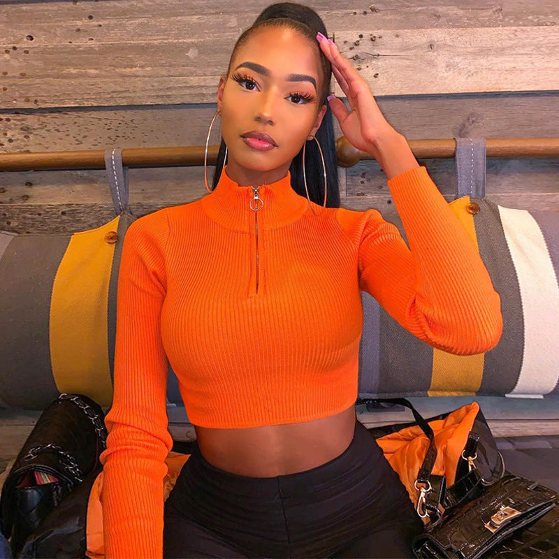 Chantel Zip Down Turtle Neck Crop Top