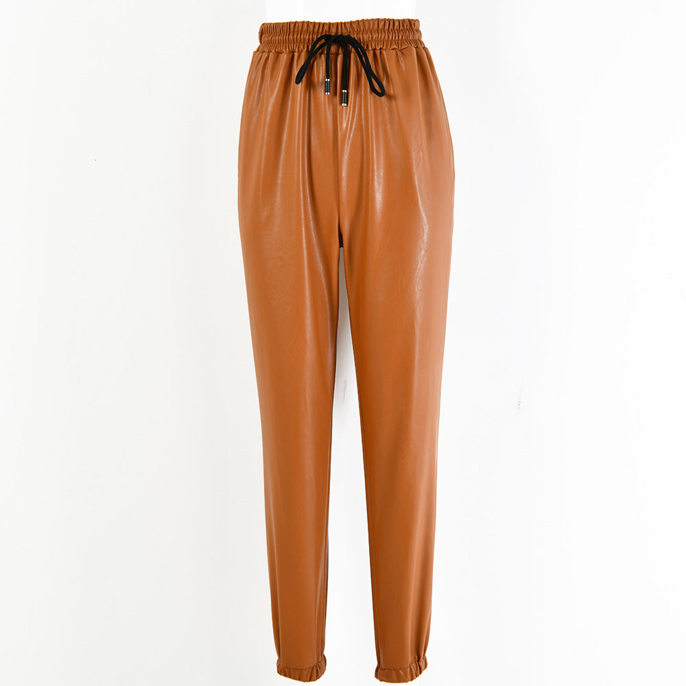 Hayley Vegan Leather Pull Waist Trousers