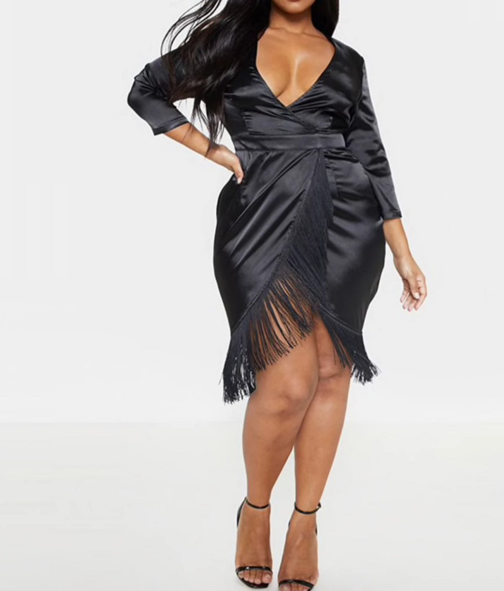 Shake it Plus Size Satin Dress with a Tasselled Hem