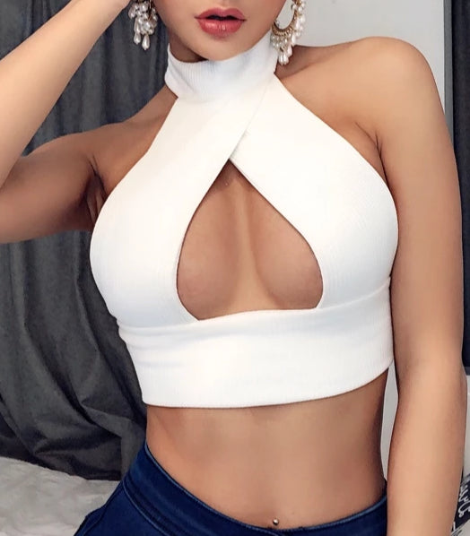 Moira Triangle Cut Out Halter Neck Top
