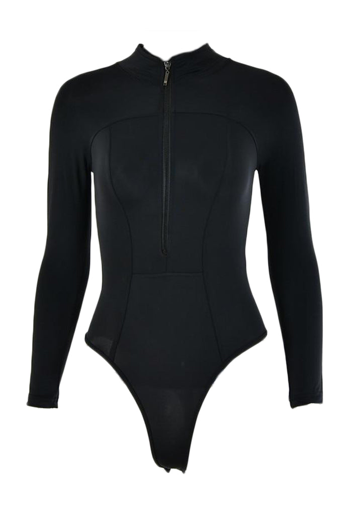 ZANA Black Zipper Bodysuit
