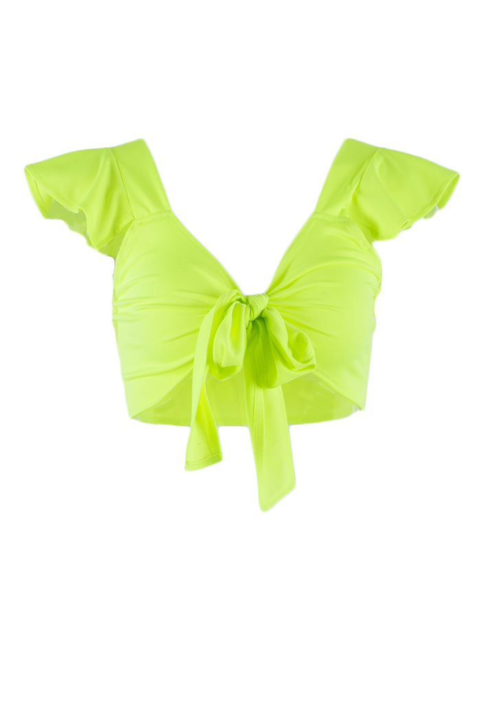 Bella Ruffle Knot Front Crop Top
