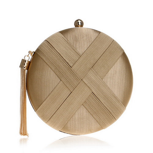 Camilla Sphere Metal Tassel Clutch Bag With Criss Cross Detail