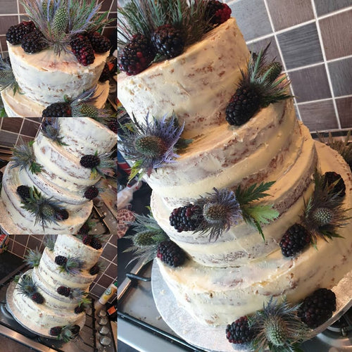 Four Tier Semi Naked Floral Wedding Cake