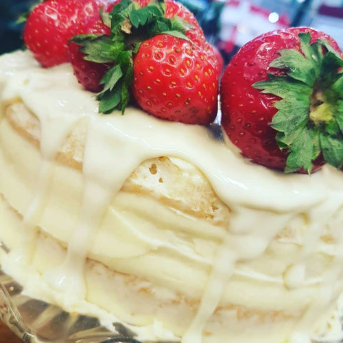 White Chocolate and Strawberry Drip Gateau