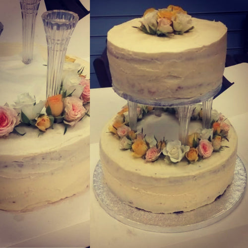 Two Tier Floral Wedding Cake