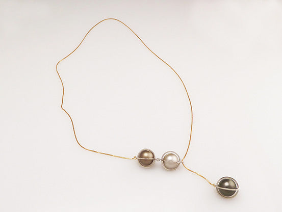 Adjustable three Tahiti pearls necklace | Collar ajustable con tres perlas de Tahiti