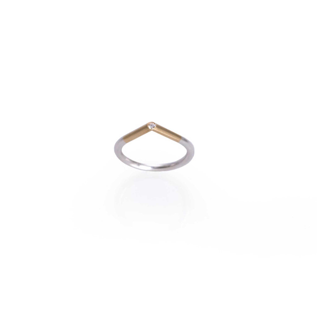 GOLD SILVER DIAMOND RING | ANILLO ORO PLATA DIAMANTE