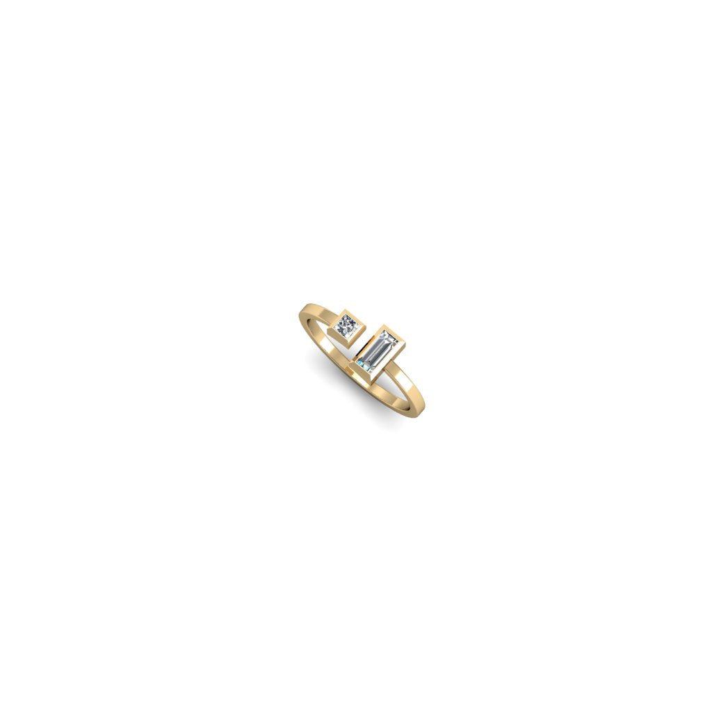 BALANCE RING WITH PRINCESS AND BAGUETTE DIAMONDS | ANILLO BALANCE CON DIAMANTES PRINCESS Y BAGUETTE