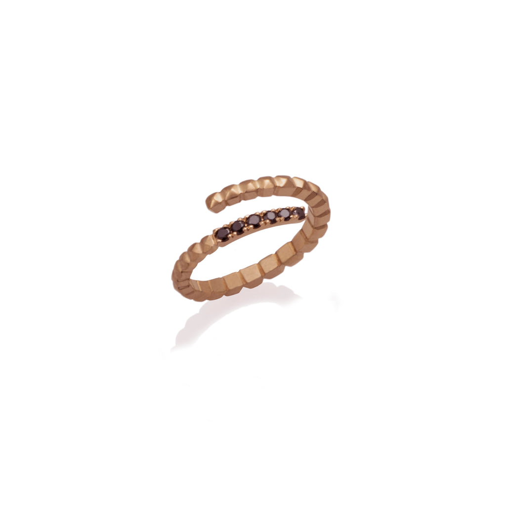 SPIRAL SERPENT RING WITH BLACK DIAMONDS | ANILLO SERPIENTE ESPIRAL DIAMANTES NEGROS