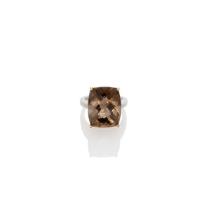 CUSHION SMOKY QUARTZ RING | ANILLO CON CUARZO AHUMADO TALLA CUSHION