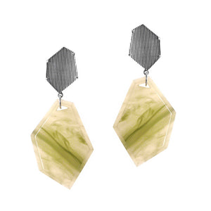 POLYHEDRON EARRINGS GREEN  | ARETES POLIEDRO VERDE JADE