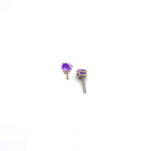 ROUND AMETHYST 5MM ROSE GOLD EARRINGS | ARETES AMATISTA REDONDA 5MM ORO ROSADO