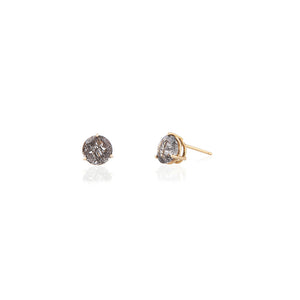 ROUND TOURMALINATED QUARTZ EARRINGS | ARETES CUARZO TURMALINADO REDONDO
