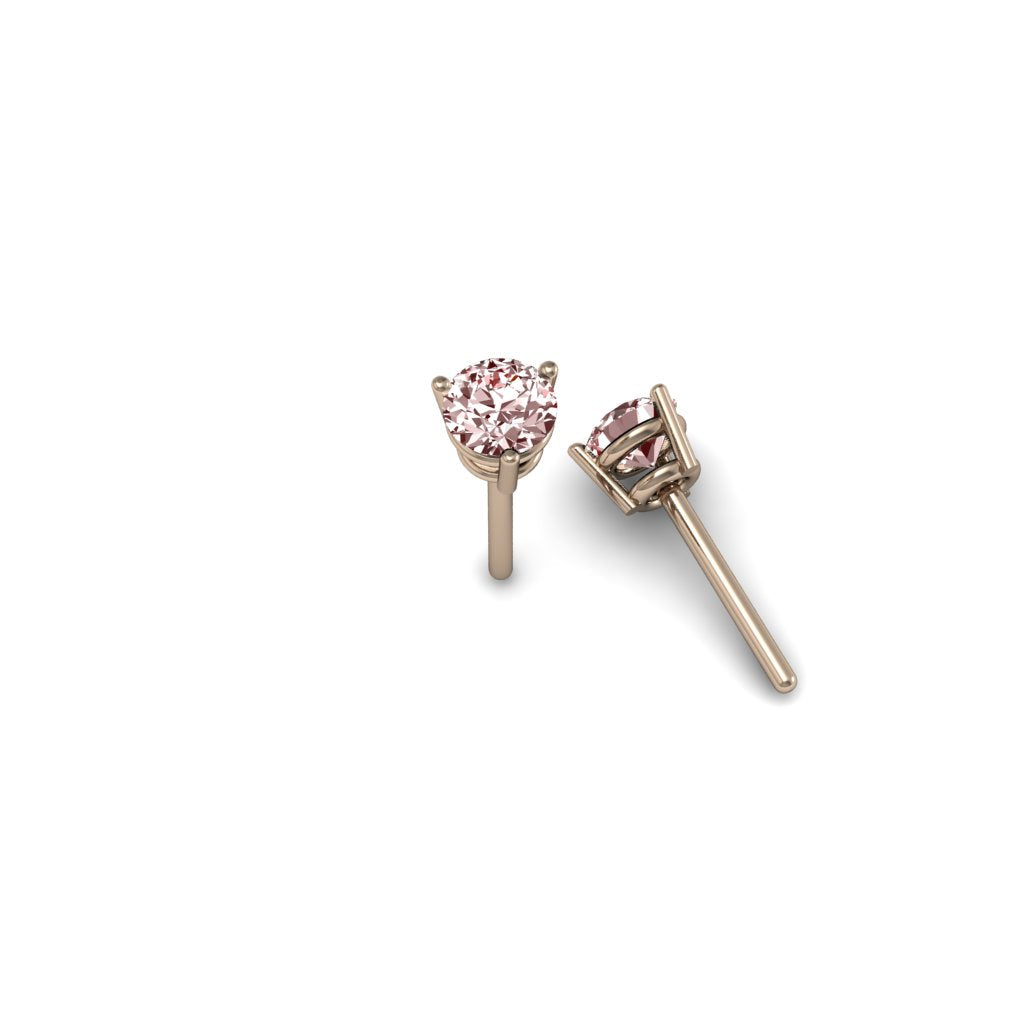 ROUND MORGANITE 4mm EARRINGS ROSE GOLD | ARETES MORGANITA REDONDA 4mm EN ORO ROSADO