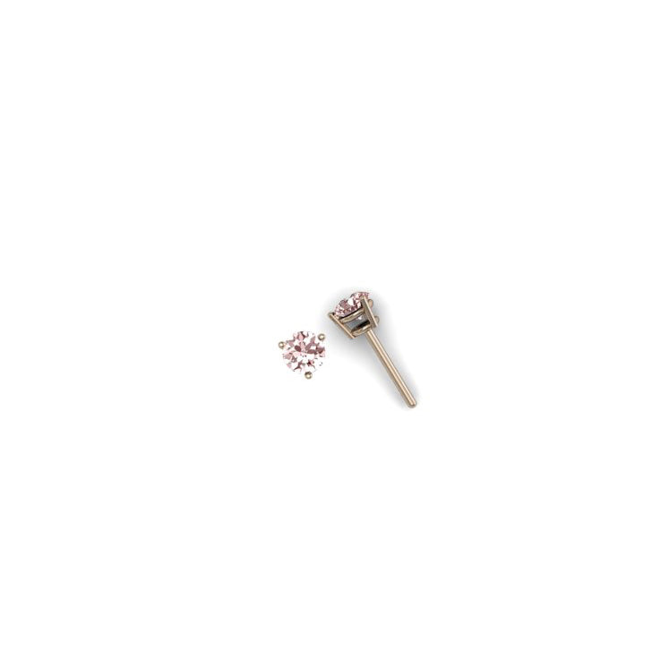 ROUND MORGANITE 5mm EARRINGS  | ARETES MORGANITA REDONDA 5mm EN ORO ROSADO