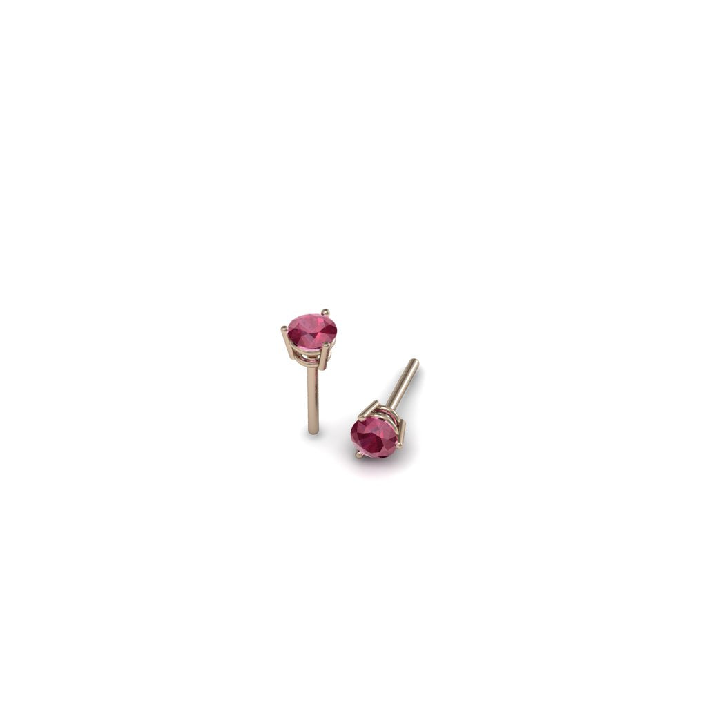 ROUND RUBI EARRINGS 4mm ROSE GOLD | ARETES DE RUBI REDONDO 4mm EN ORO ROSADO