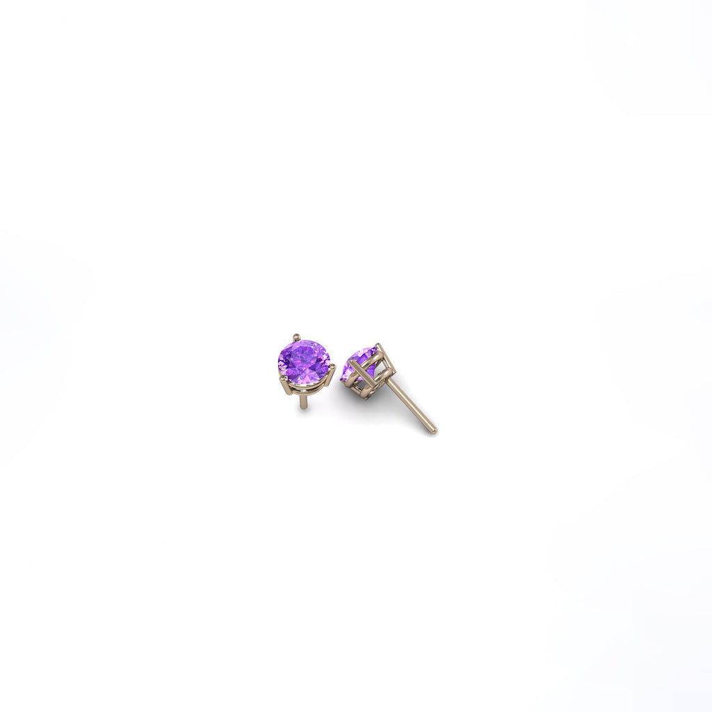 ROUND AMETHYST 6mm EARRINGS | ARETES DE AMATISTA REDONDA