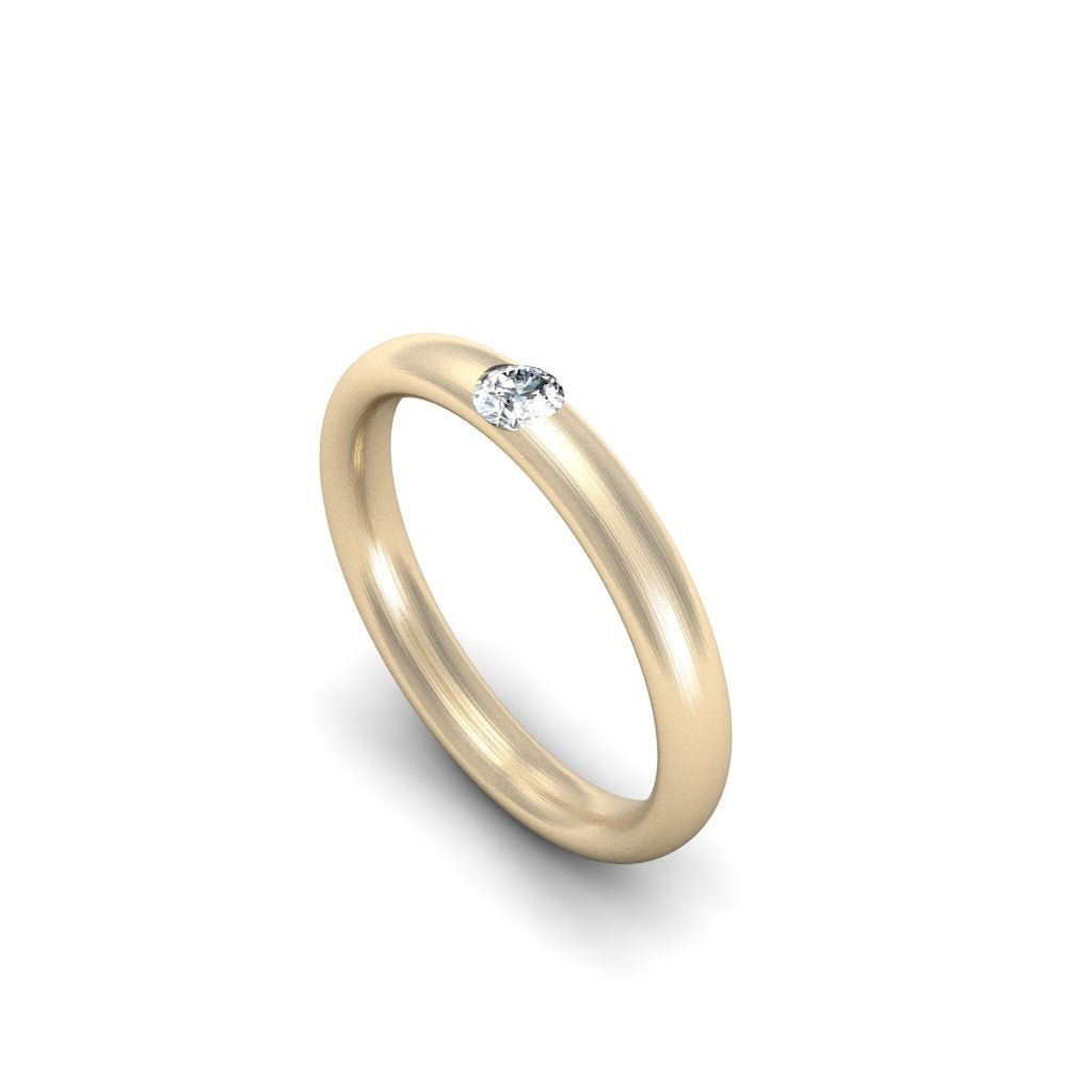 OVAL SECTION BAND WITH ROUND DIAMOND | ARGOLLA OVALADA CON DIAMANTE REDONDO
