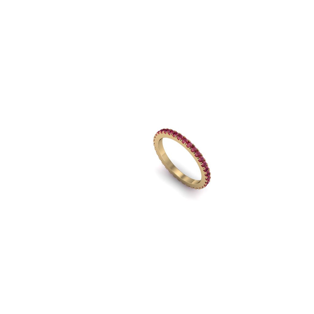 LIGHT ETERNITY RUBY AND YELLOW GOLD BAND | ARGOLLA SIN FIN LIVIANA DE ORO AMARILLO CON RUBÍ
