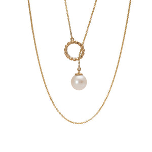 PEARL THROUGH STUDS CIRCLE PENDANT | DIJE PERLA ATRAVÉS DEL CÍRCULO TACHES