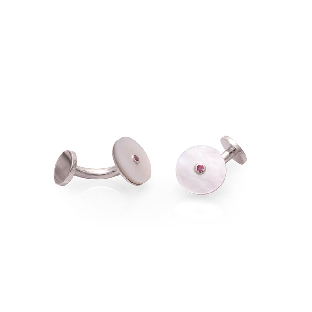 WHITE NACRE AND RUBI CUFFLINKS | MANCORNAS NACAR BLANCO Y RUBI