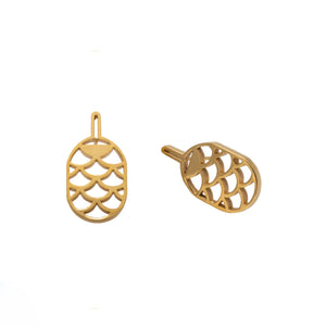 PINEAPPLE EARRINGS VERMEIL | ARETES PIÑAS CON ENCHAPE DE ORO AMARILLO