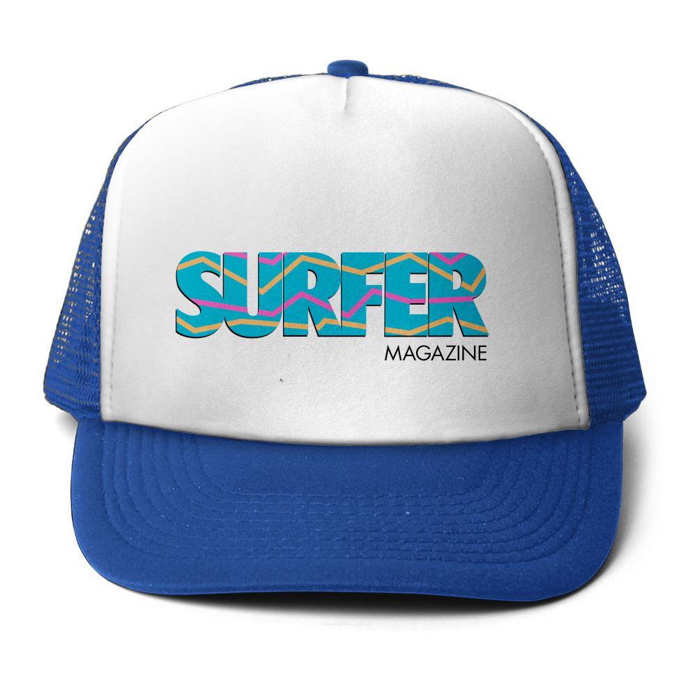 royal hat with white front panel surfer logo in bright blue
