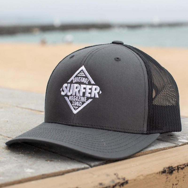SURFER 80s Mag Trucker Hat charcoal front black mesh back white diamond logo