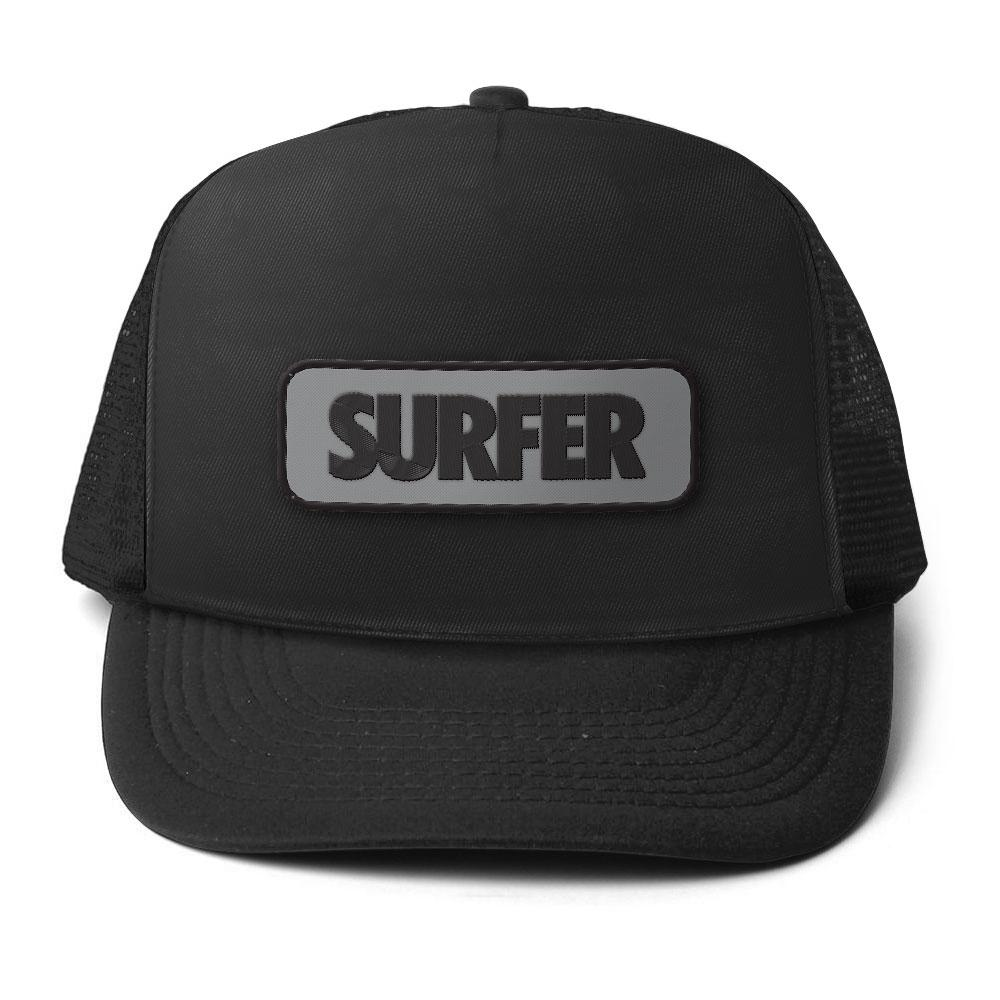 Black surfer trucker hat with embroidered patch includes surfer logo in black on grey background