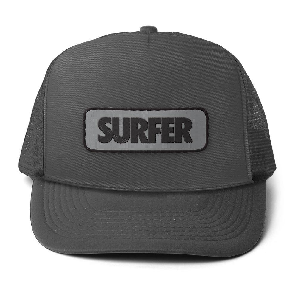 Charcoal surfer trucker hat with embroidered patch includes surfer logo in black on grey background