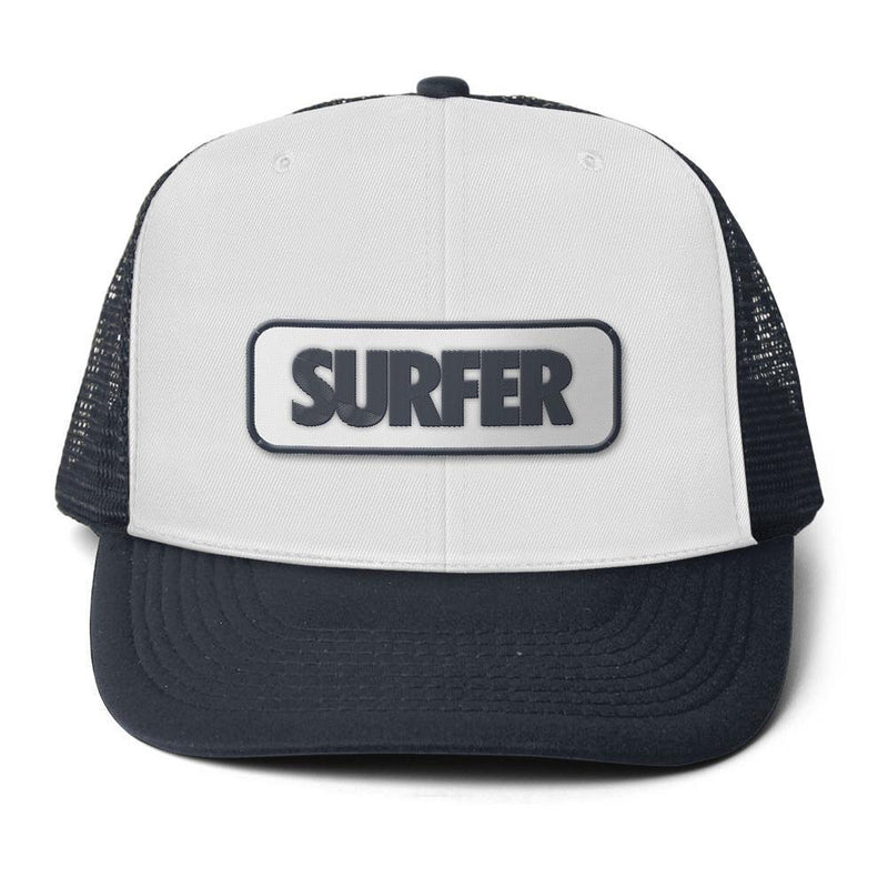 Navy trucker hat, white front panel with surfer logo patch with navy logo and white background