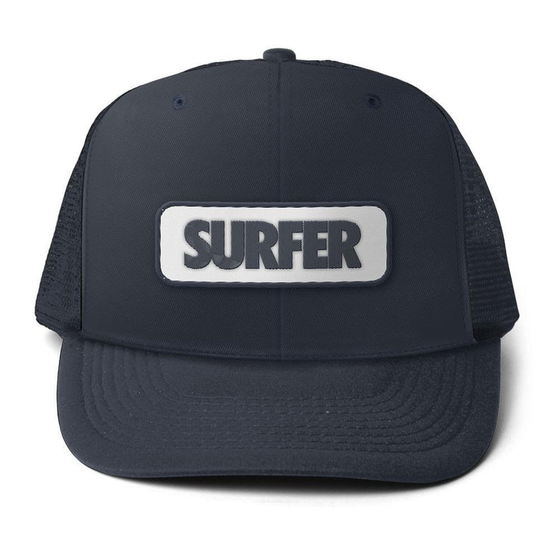 Navy trucker hat with surfer logo patch with navy logo and white background