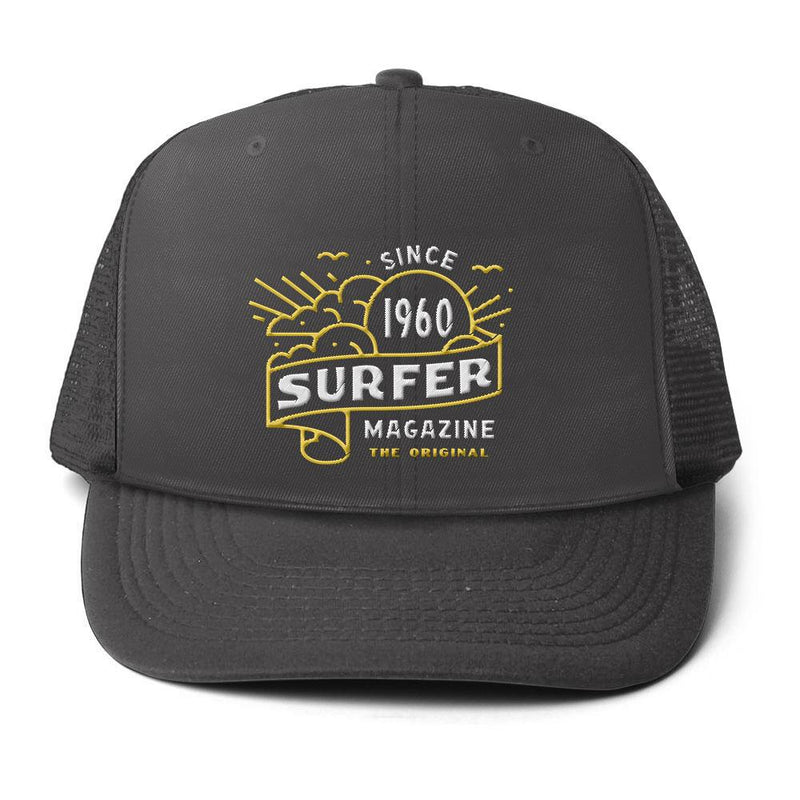 Charcoal surfer trucker hat with Banner art embroidery in gold and white
