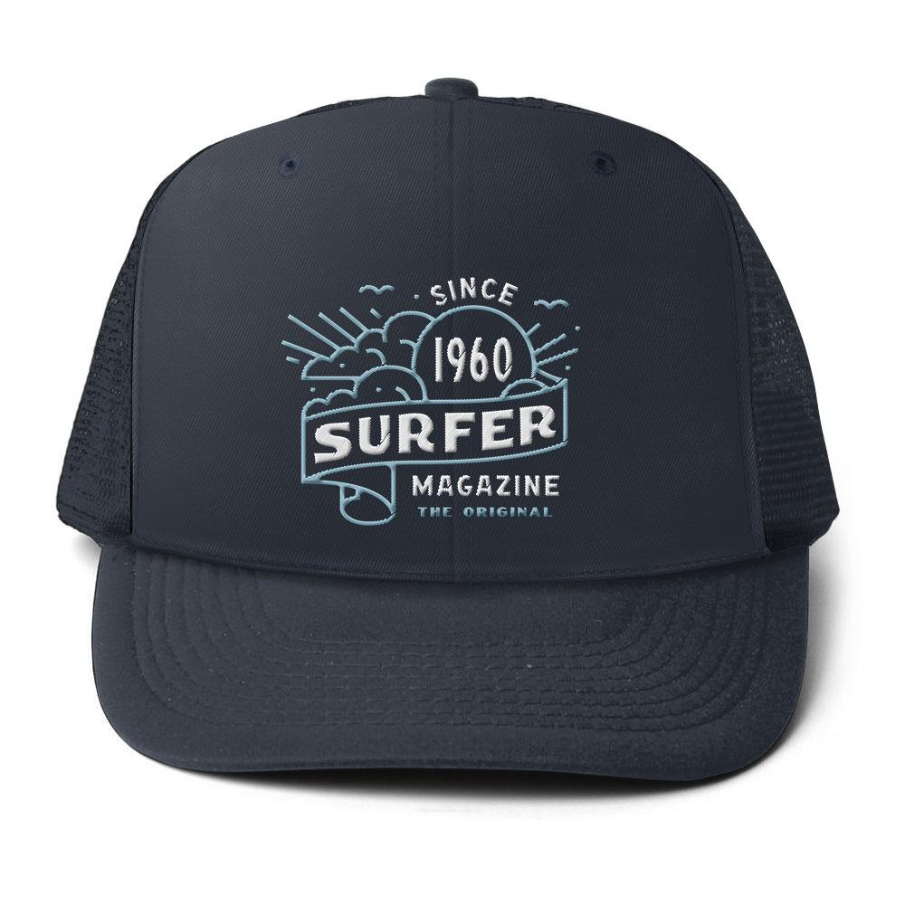 Navy surfer trucker hat with Banner art embroidery in light blue and white