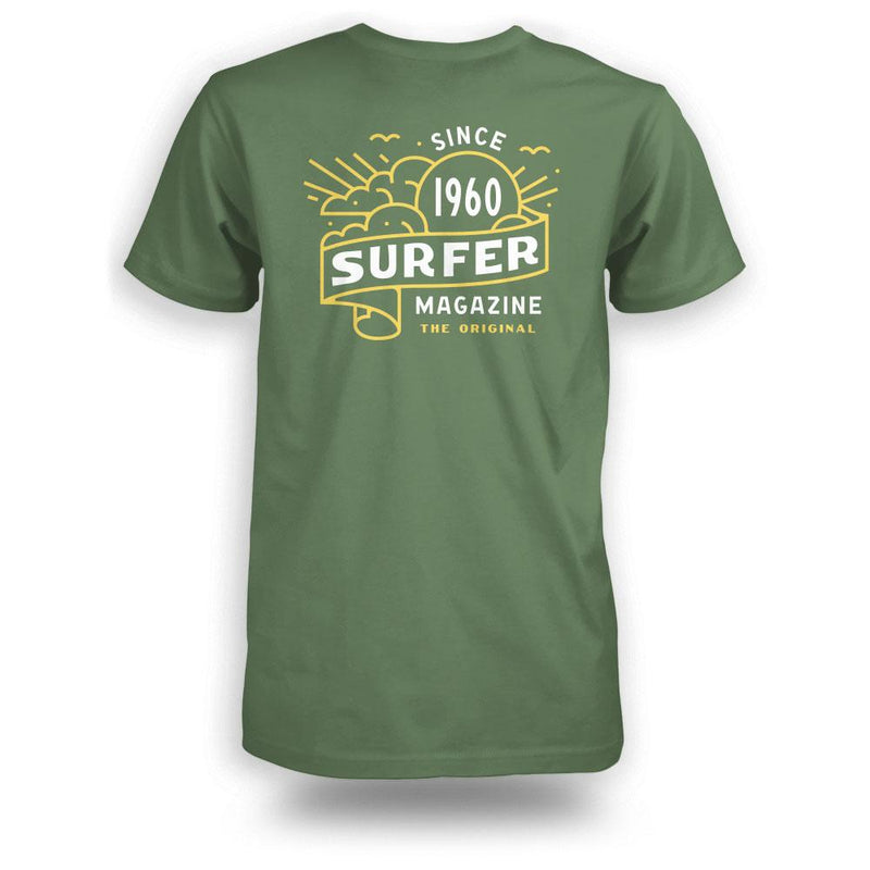 Green surfer tee back view with banner graphic in yellow and white