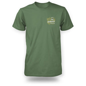 Green surfer tee front view with banner graphic in yellow and white on left chest