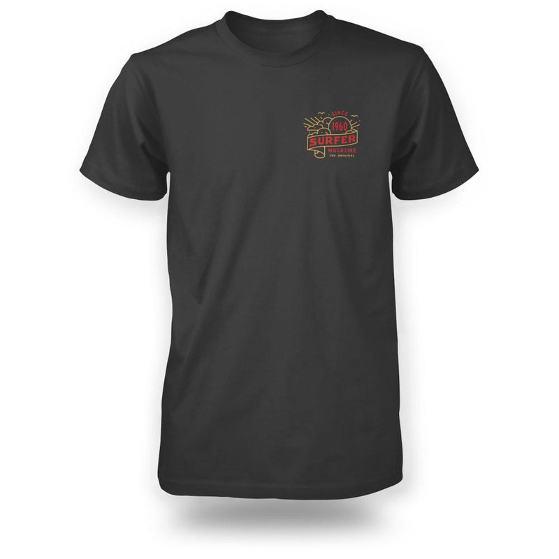 Black surfer tee front view with banner graphic in gold and red on left chest