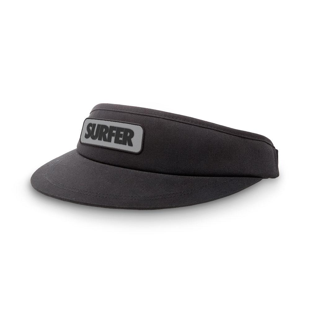 Black visor with surfer logo patch black letters with grey background