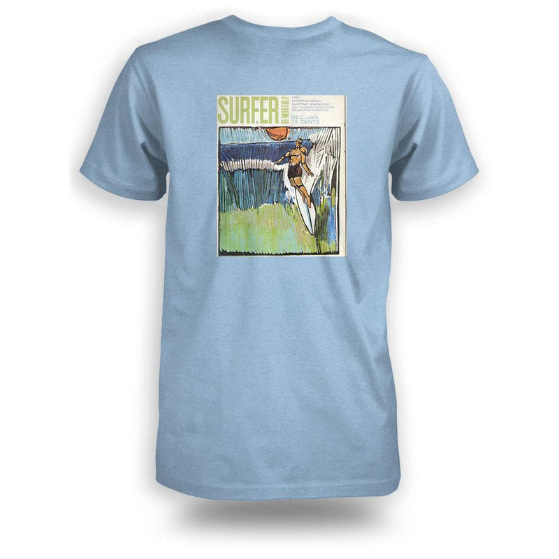 Light blue heather surfer tee back view with Jan 1964 cover printed in color
