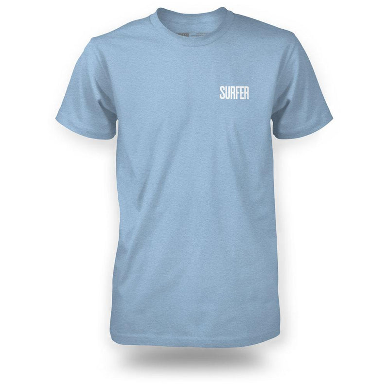 Light blue heather surfer tee front view with surfer logo in white on left chest