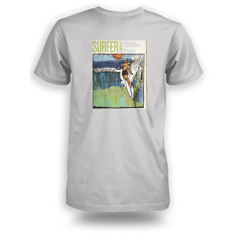 Silver heather surfer tee back view with Jan 1964 cover printed in color